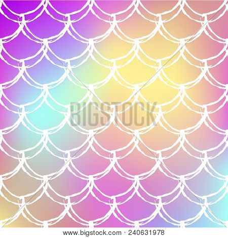 Squama On Trendy Gradient Background. Square Backdrop With Squama Ornament. Bright Color Transitions