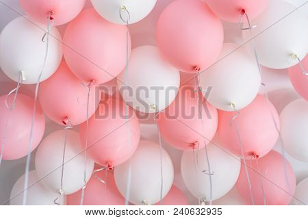 Colourful Balloons, Pink, White, Streamers. Helium Ballon Floating In Birthday Party. Concept Balloo