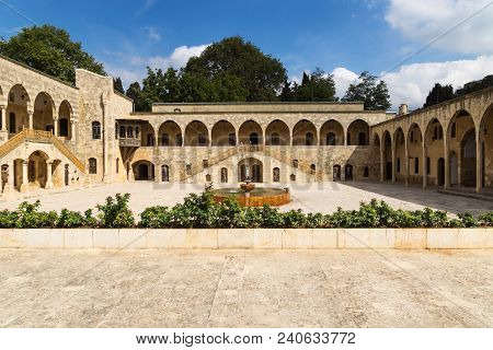 Total View Of Courtyard At Emir Bachir Chahabi Palace Beit Ed-dine In Sunshine In Mount Lebanon Midd