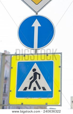 A Road Sign Is A Technical Safety Measure For Road Traffic, A Standardized Graphical Drawing Placed