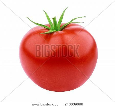 One Whole Tomato Isolated Isolated On White Background With Clipping Path