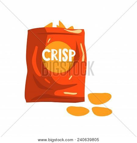 Red Bag Package Of Crisp Potato Chips Snacks Vector Illustration Isolated On A White Background.