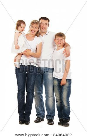 Glückliche Familie isolated over white background