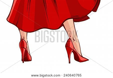 Vector Illustration In Mid Century Comics Style - Frame With Pin-up Woman In Red Dress And High Heel