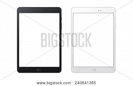Black And White Tablet Computers Mockups With Blank Screens. Responsive Screens To Display Your Mobi