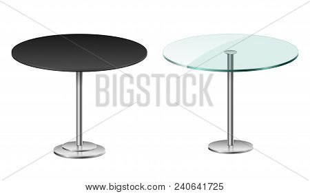 Empty Modern Black Round Table Isolated On White. Vector Glass Table With Metal Stand Template For R