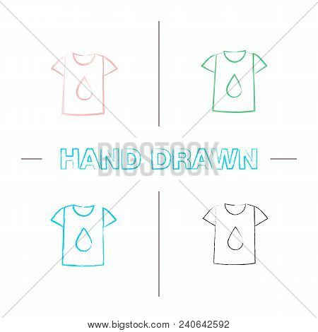 Printing On T-shirt Hand Drawn Icons Set. Color Brush Stroke. T-shirt With Liquid Drop. Isolated Vec