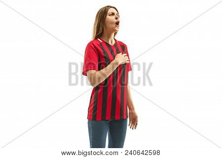 Belgian Female Fan Celebrating On White Background. The Young Woman In Soccer Football Uniform Stand