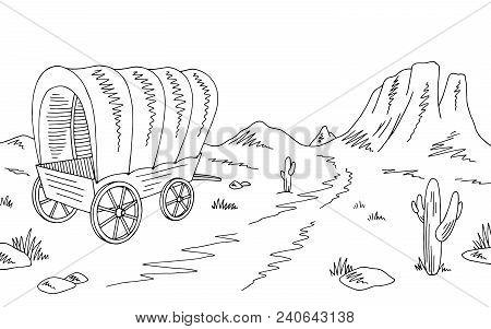 Prairie Covered Wagon Graphic Black White American Desert Sketch Landscape Illustration Vector