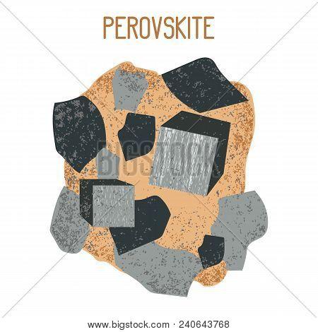Mineral Perovskite. Mineral Drawing. Ore Blotches Vector Illustration