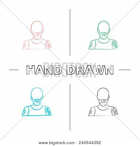 Tattoo Artist Hand Drawn Icons Set. Color Brush Stroke. Tattooist. Man With Tattooed Body. Isolated