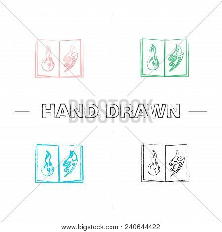 Tattoo Images Catalog Hand Drawn Icons Set