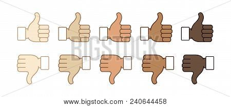 Hand Emojis Thumb Down And Thumb Up, Stickers In All Skin Colors, Emoticons Flat Vector Illustration