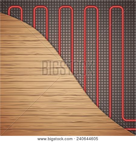 Floor Heating System Under Wooden Cover. Top View. Ways Of Installing Pipes Under Cover. Vector Illu