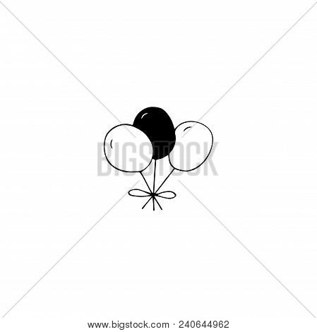 Vector Hand Drawn Objects, Balloons. Logo Element For Children Related Business Branding And Identit
