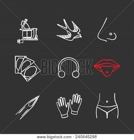 Tattoo Studio Chalk Icons Set. Tattoo Machine, Swallow, Pierced Nose And Tongue, Repair Sticker, Hal