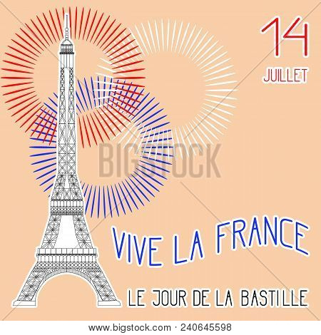 Bastille Day. July 14. Concept Of French National Holiday. The Eiffel Tower In Scale. Colors Of The
