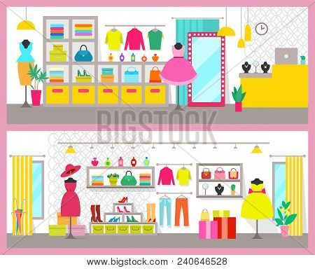 Pair Of Colorful Cards With Bright Clothes Shops, Vector Illustration Pink Frames, Racks And Bags, P