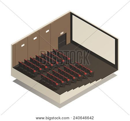 Empty Cinema Auditorium Isometric Composition With Rows Of Spectator Seats  And Wide Screen 3d Vecto