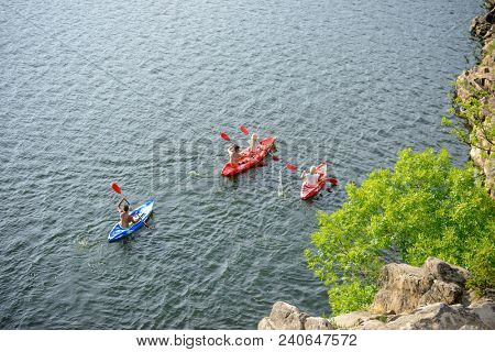 Aerial View of Kayakers on the Beautiful River or Lake