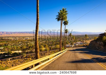 Scenic Road Leading To Palm Springs In California, Usa. It Is A Desert Resort City In Riverside Coun