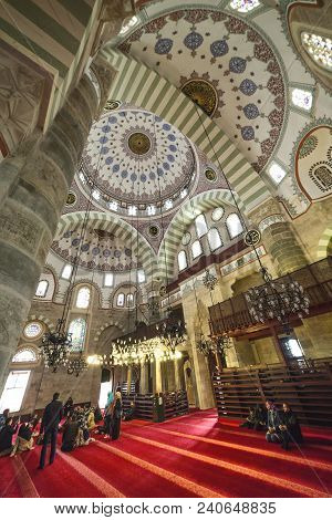 Istanbul, Turkey: Interior Of Mihrimah Sultan Mosque By Mimar Sinan In Uskudar District On April 14,