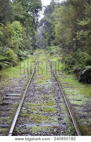 Converging Train Tracks At A Heritage Site, South Island, New Zealand