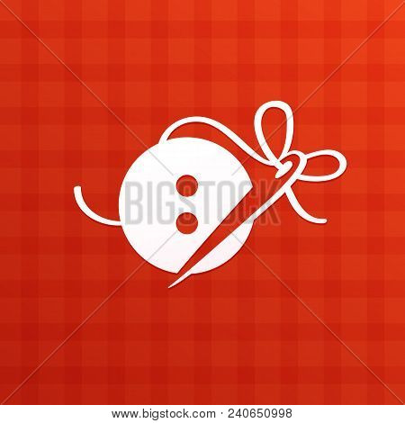Illustration Design Of Logotype Woman Hobby Flat Symbol. A Button And A Needle Web Icon