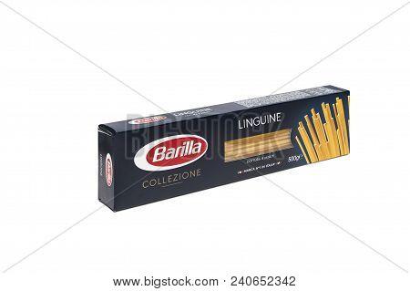 Chisinau, Moldova - May 15, 2018: Front View Of Barilla Spaghetti Collezione. Italian Pasta On White