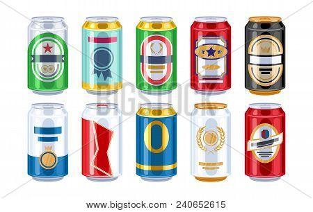 Beer Cans Icons Set. Alcohol Vector Illustration. Good For Bar, Pub, Restaurant Or Supermarket Desig