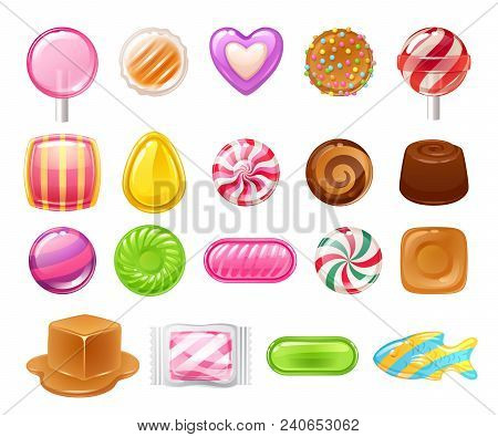 Candies Sweets Set On White Background - Hard Candy, Dragee, Lollipop, Toffee, Jelly, Peppermint Can