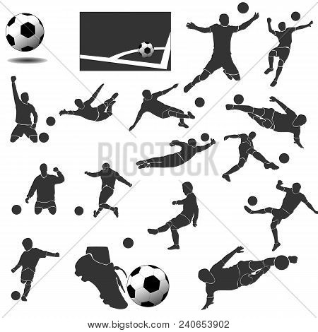 A Set Of Design Elements For Football. Modern Flat Vector Collection Icons.