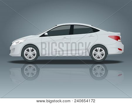 Sedan Car. Compact Hybrid Vehicle. Eco-friendly Hi-tech Auto. Isolated Car, Template For Branding An