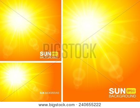 Summer Template Banners. Sun Rays Backgrounds. Set Of Glow Sunlight Horizontal And Vertical Yellow B
