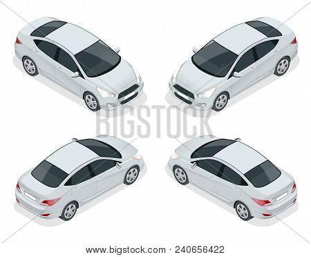 Isometric Set Of Sedan Cars. Compact Hybrid Vehicle. Eco-friendly Hi-tech Auto. Isolated Car, Templa
