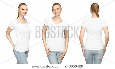 Set Promo Pose Girl In Blank White Tshirt Mockup Design For Print And Concept Template Young Woman I