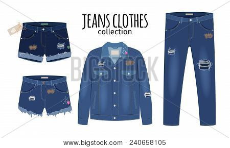 Jeans Clothing. Trendy Fashion Ripped Denim Casual Clothes Vector Illustration, Jeans Outfit Garment
