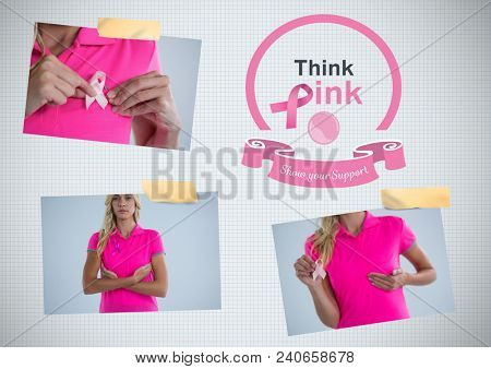 Think pink text and Breast Cancer Awareness Photo Collage