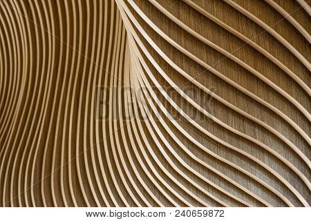 Architectural Details Of Welsh Assembly Building. Wooden Planks From Sustainable Sources. Eco-friend