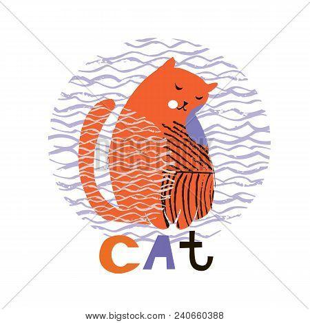 Cute  Cat In Cartoon Style. Vector Illustration.