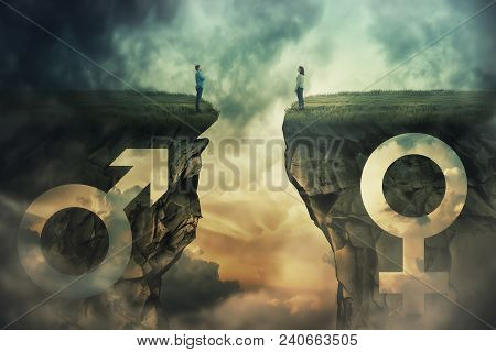 poster of Gender gap idea and sex equality or inequality concept as male and female sign shaped into stone cliff and man with woman looking at each other from different sides as a metaphor of social issue.