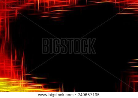 Black Inferno Background With Stylized Flame Border Pattern And Empty Space Inside.digitally Generat
