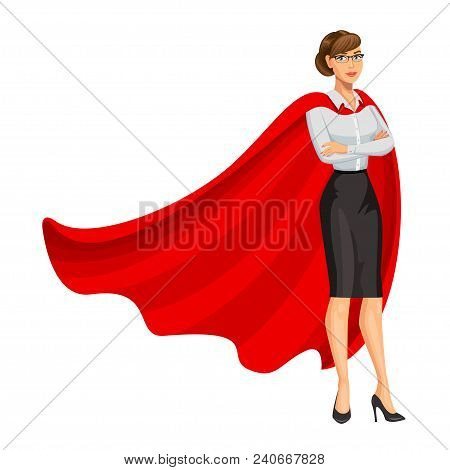 Superhero Woman In Red Cape, Female Hero, Businesswoman Superhero. Girl In Business Style Look. Prof