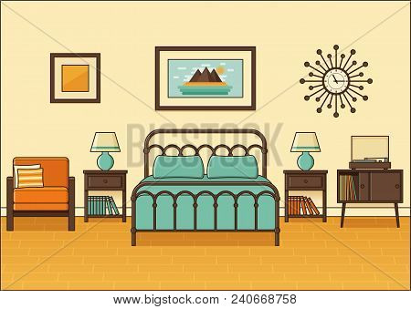 Bedroom Interior. Hotel Room. Vector. Home Retro Space In Flat Design With Bed. Cartoon House Equipm