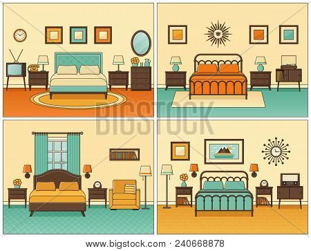 Bedroom Interior. Hotel Rooms With Double Bed. Vector. Linear Flat Design Illustration. Retro House