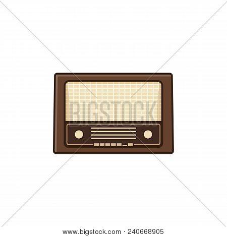 Retro Radio. Vintage Radio Receiver Isolated On White Background. Vector Illustration. Icon In Line