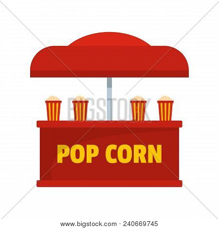 Pop Corn Selling Icon. Flat Illustration Of Pop Corn Selling Vector Icon For Web.