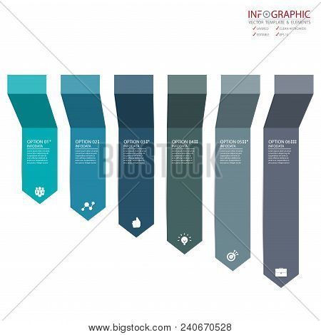Vector Abstract Element Infographics 6 Option. Design For Business Or Finance Template Layout, Broch