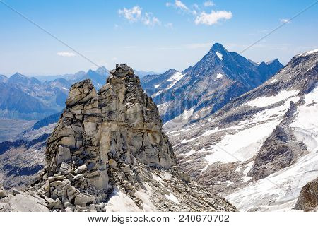 Mountain And Glacier Landscape In Tirol. Austria, Region Of Hintertux. View On Valley From Cable Car