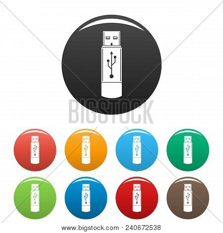 Portable Flash Drive Icon. Simple Illustration Of Portable Flash Drive Vector Icons Set Color Isolat